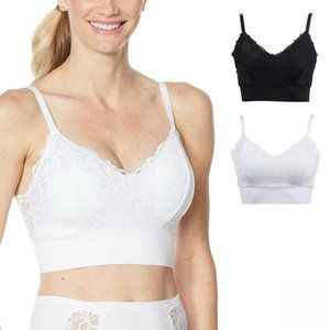 NEW 2 Pack Lace Leisure Bras XL Black White